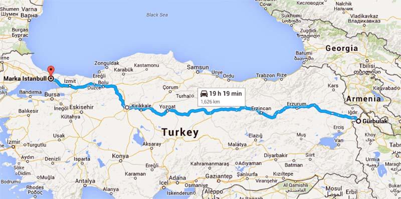 مسیر سفر زمینی به استانبول با خودرو شخصی