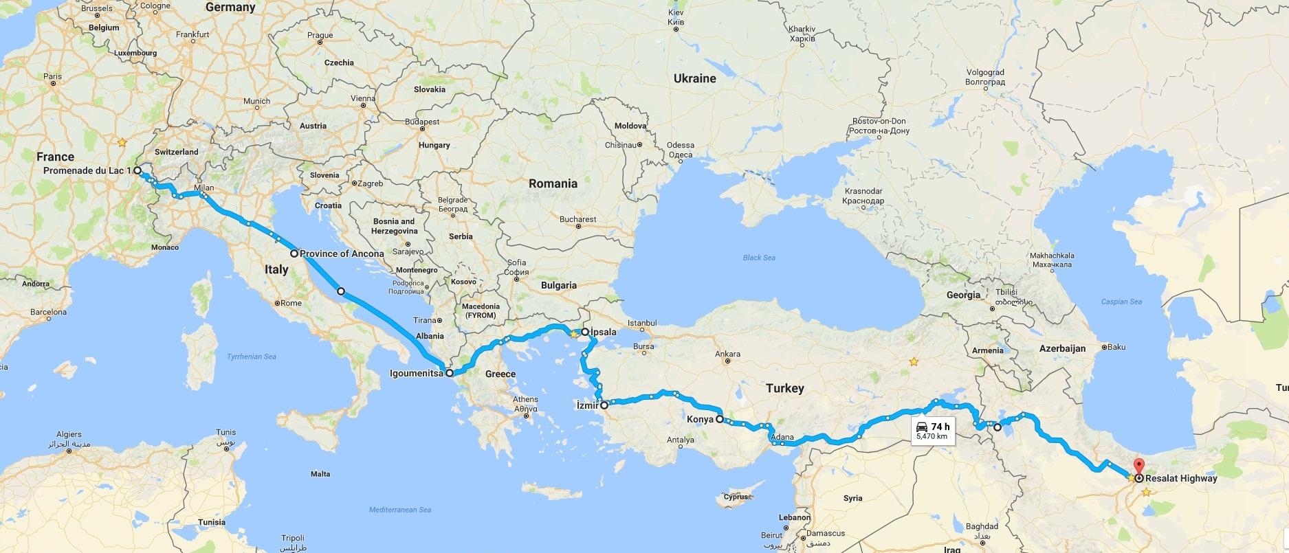 مسیر حرکت از سوئیس به تهران