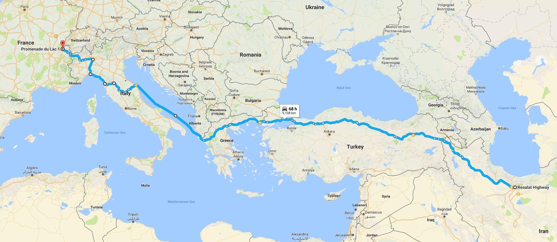 مسیر حرکت از تهران به سوئیس