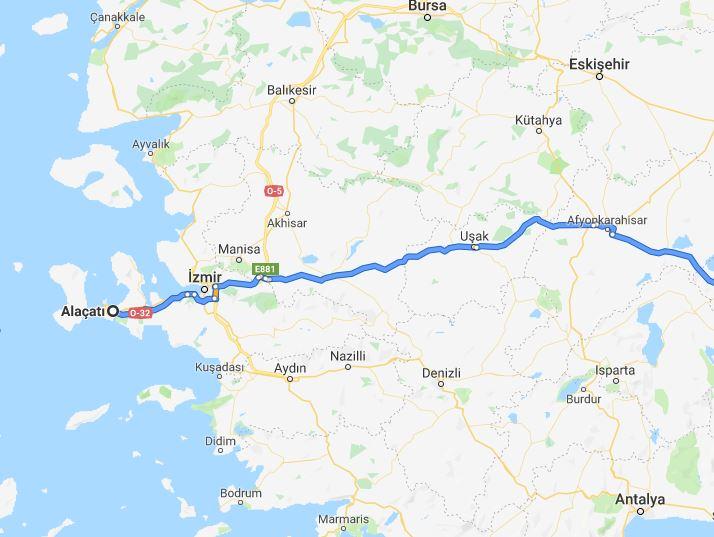 مسیر آلاچاتی ترکیه تا قونیه