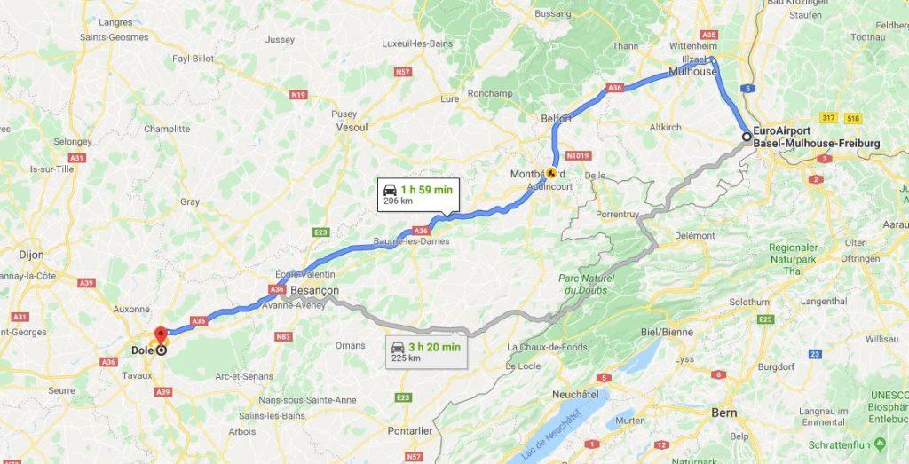 مسیر فرودگاه بازل تا شهر دول فرانسه