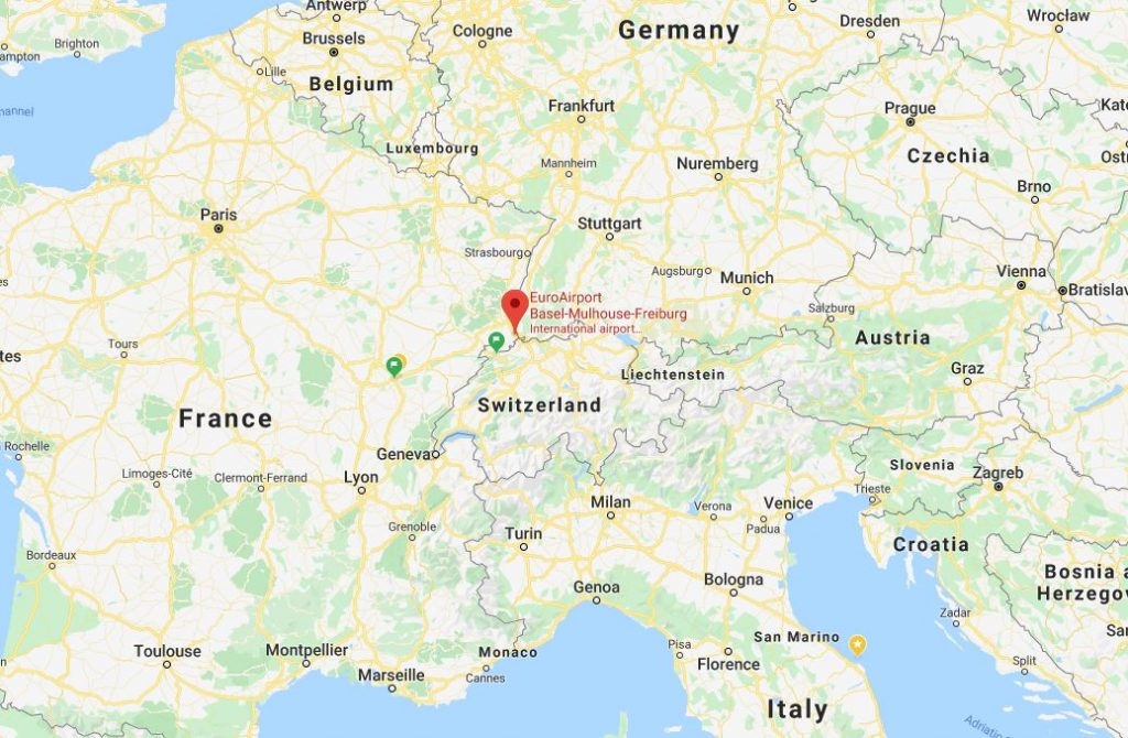 نمایش موقعیت فرودگاه بازل نسبت به 3 کشور آلمان ، فرانسه و سوئیس
