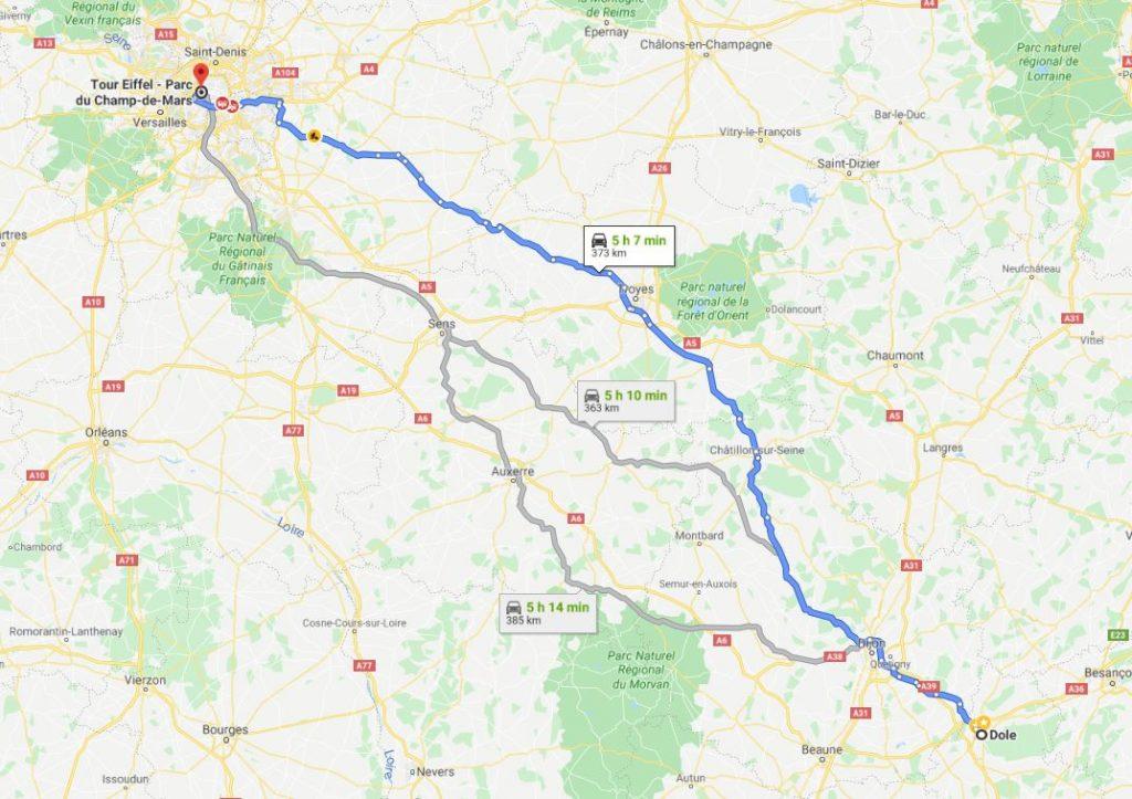 مسیر شهر Dole تا Paris  برج ایفل