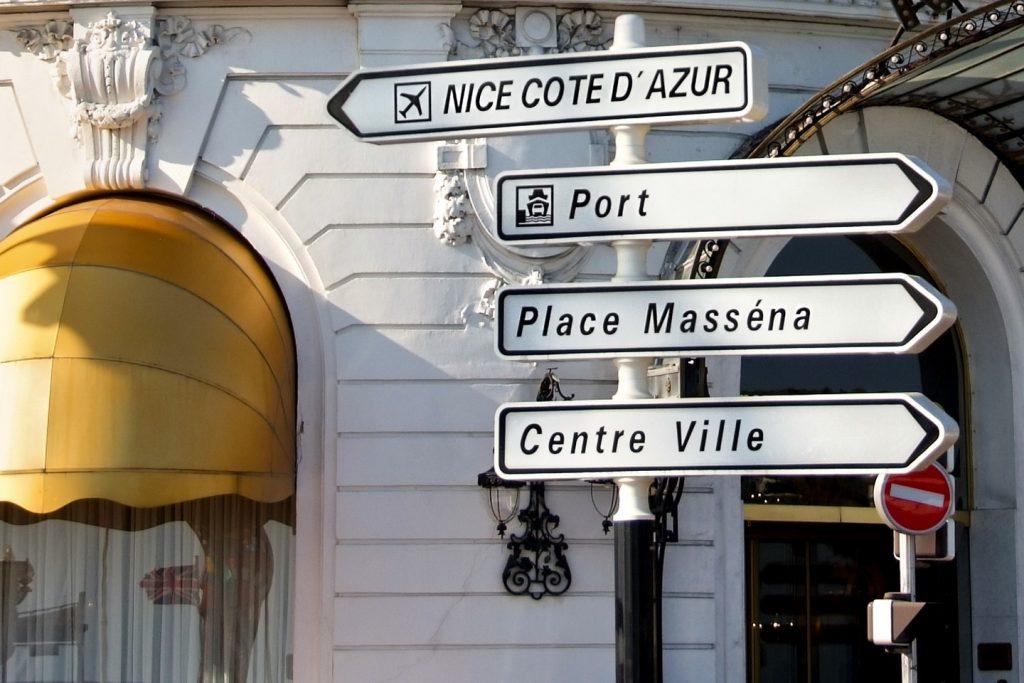 تابلوی مرکز شهر در فرانسه